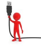 人和USB缆绳(包括的裁减路线) 免版税库存照片