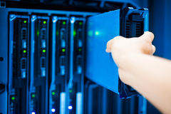 人固定服务器网络在数据屋子里 库存图片