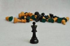 黑人国王在焦点以棋子的其余 库存照片