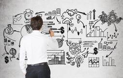 人图画企业计划背面图  免版税库存照片