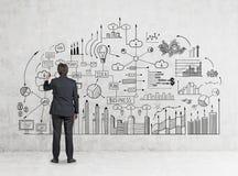 人图画企业计划背面图  免版税库存图片