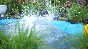 人在一个小湖游泳在一个热的夏日 男孩跳进水,创造飞溅水 庭院 影视素材