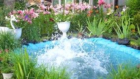 人在一个小湖游泳在一个热的夏日 男孩跳进水,创造飞溅水 庭院 股票视频