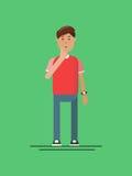 人在与一个黄灯电灯泡的绿色背景认为 凉快的人考虑事务 例证 向量例证