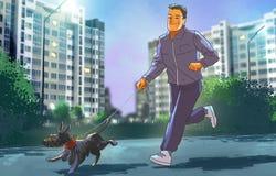 人在与狗的晚上跑步 免版税库存照片