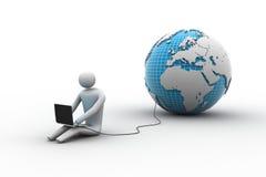 人在与膝上型计算机的地球附近坐 库存照片