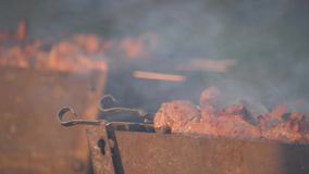 人在串的厨师肉 人手轮烤了在mangal的肉 烹调野餐食物 在格栅的控制食物配制 格栅