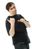 人在他的之后指向一个手指。 库存图片