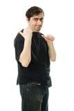 人在他的之后指向一个手指。 图库摄影