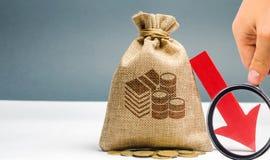 人在公司中分析预算 减少的赢利 财务破产的危机 坏商业 投资损失和 库存照片