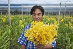 人在兰花农场展示花在Samut Songkram,泰国 免版税库存图片