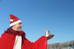 人在圣诞老人的衣服 库存图片