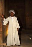 人在埃及守卫寺庙 免版税库存图片