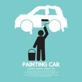 人在墙壁标志的绘画汽车 免版税库存照片
