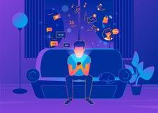 年轻人在家坐长沙发和短信的消息 向量例证