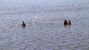 人在河带领一种健康生活方式和游泳 股票录像