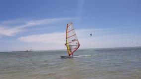 人在海乘坐有风帆的一个委员会 股票视频