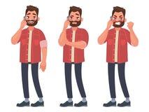 人在用不同的情感的电话谈话 快乐,周道,恼怒 也corel凹道例证向量 向量例证