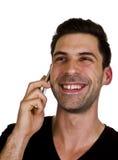 年轻人在电话谈话 库存图片