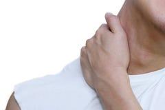 人在痛苦中的握他的脖子 库存图片