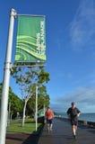 人在石标广场跑在昆士兰澳大利亚 库存照片