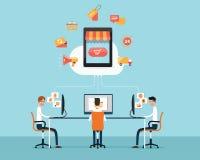 人在线概念的企业购物 企业动画片 云彩的商店 皇族释放例证