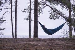 人在被栓到在海滩和海的背景的一松树的吊床睡觉 库存图片