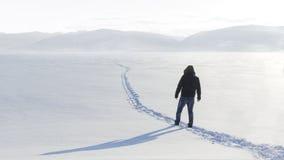人在西伯利亚 美好的横向 库存照片
