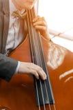 人在阳光下的演奏低音提琴 库存图片