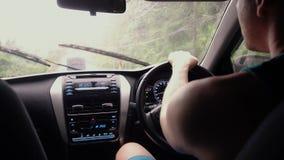 人在雨中驾驶 影视素材