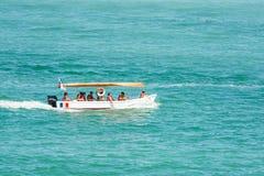 人在黑海的小船旅行 库存图片