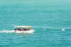 人在黑海的小船旅行 免版税库存照片