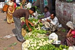 人在Chawri的出售菜 图库摄影