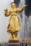 人在VDNKH公园的友谊喷泉在莫斯科 免版税图库摄影
