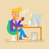 年轻人坐在有计算机传染媒介的书桌 免版税库存照片
