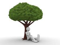 人坐的结构树下 免版税库存图片