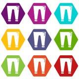人塑造象设置9传染媒介的accesory裤子 向量例证
