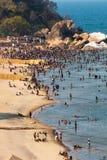 人大人群享用海滩 免版税库存图片