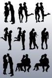 人夫妇剪影的汇集  向量例证