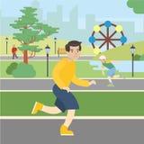 人奔跑在公园 库存例证