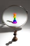 黑人女王/王后在镜子看看自己作为用彩虹旗子盖的女王/王后 免版税库存照片