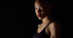黑人妇女喜怒无常的画象  图库摄影