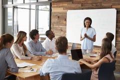 年轻黑人妇女站立对同事演讲在会议上 免版税库存图片