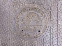 人孔盖在查尔斯顿,南卡罗来纳 免版税库存照片