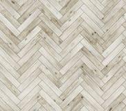 人字形被漂白的自然木条地板无缝的地板纹理 免版税库存照片