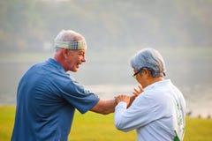 人实践太极拳川石在公园 免版税库存图片