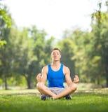 年轻人实践的瑜伽在公园 免版税库存图片