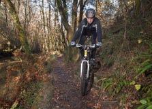 人实践的登山车在森林里 免版税库存图片