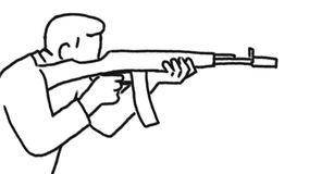 人射击的攻击步枪画的第2动画
