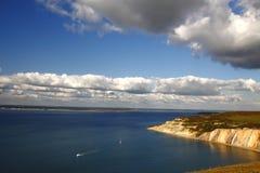 人小岛, solent看往南安普敦英国 库存图片
